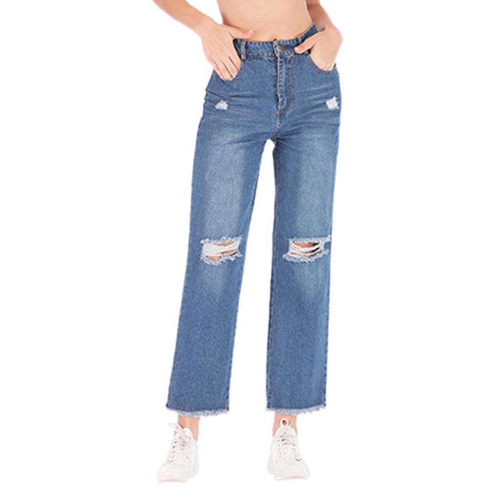 Compre Pantalones Vaqueros Rasgados De Mezclilla Para Mujer Pantalones Rectos Largos Holgados De Cintura Alta Para Ninas Pantalones Capri De Talla Grande Pantalones Delgados Pantalones Anchos Ocasionales A 13 12 Del Baicao