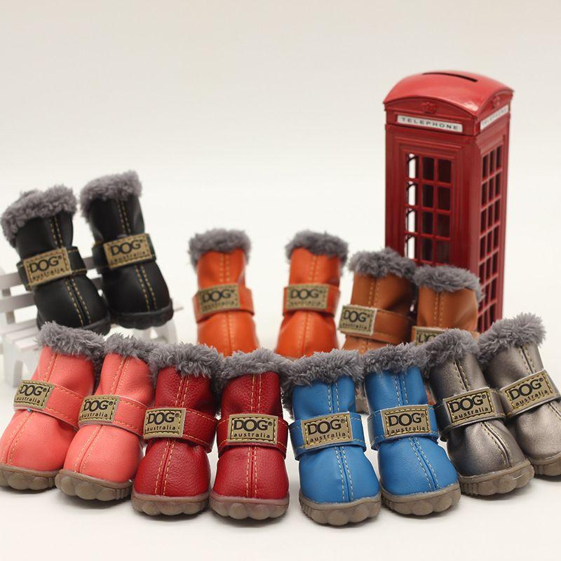 صغير لطيف الكلب أستراليا أحذية pet عدم الانزلاق أحذية الشتاء الدافئة skidproof حذاء باو حماة 4-pcs مجموعة للكلاب تشيهواهوا يوركي