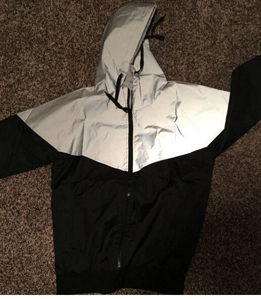 Мода-куртка осень Лоскутных Светоотражающая ой куртка Спорт Hip Hop Открытого Водонепроницаемого ветровки мужчины пальто Trend марка