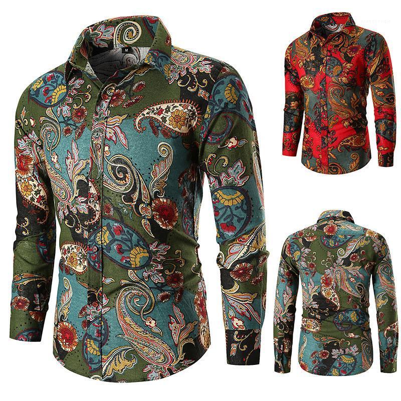 Camisas Casual Mens Vestuário Mens Designer de impressão Camisas Casual Moda Cor Natural Shirts lapela Long Neck Sleeve
