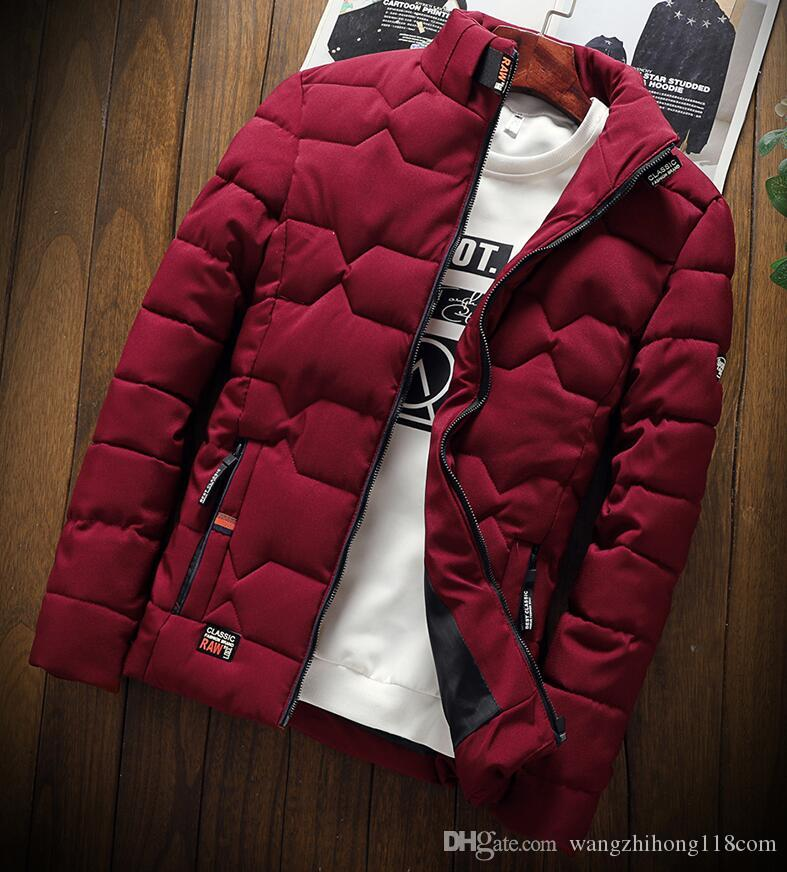 hombre ropa de Polo punk otoño invierno Nueva tendencia de moda Chaqueta Casual engrosada cálida ropa de algodón acolchado Delgado abrigos de béisbol tamaño abajo caliente