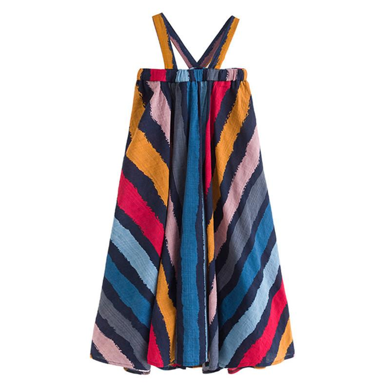 6 To 16 Years Kid & Teenager Girls Summer Colorful Striped Cotton Casual Flare Dress Children Fashion Sleeveless Beach Dresses J190616