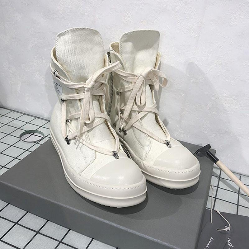 Mujeres top del alto de los zapatos de lona táctico militar botas de combate del desierto zapatos al aire libre Viajes Ejército de las botas del tobillo Blanco Negro Martin Botas 9 # 25 / 20D50