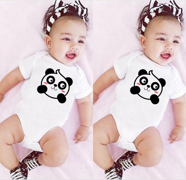 Newborn Baby Summer Short Sleeves Cute Panda Print Girls Jumpsuit Infant Baby Bodysuits Toddler Onesie Casual Clothes