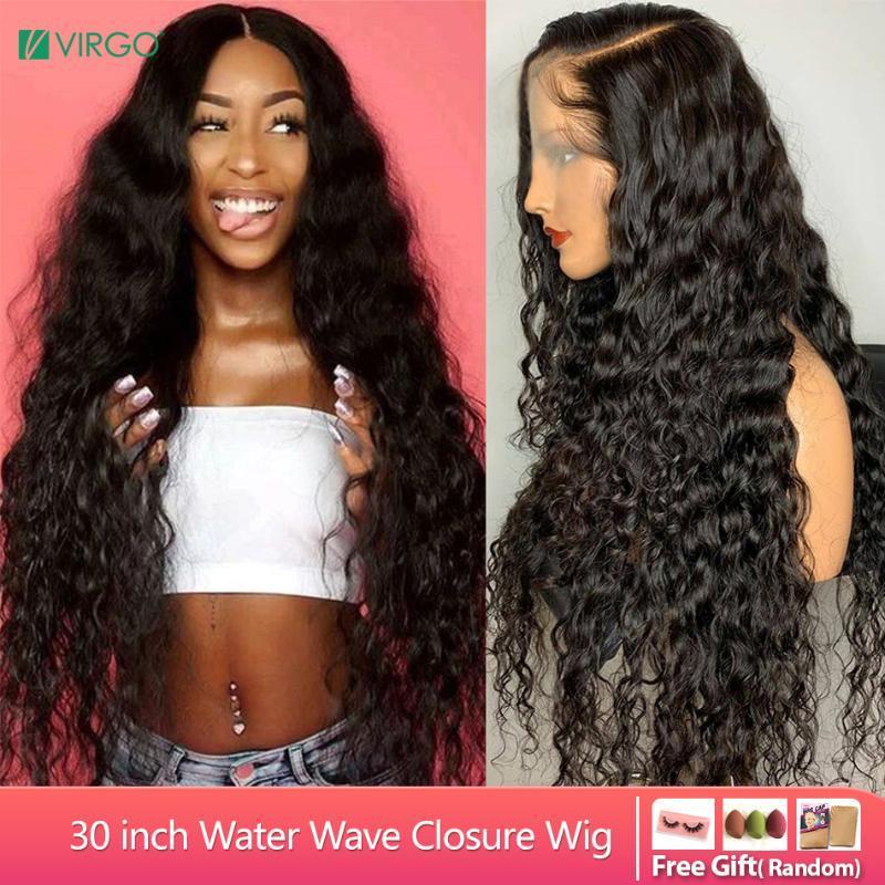 Vierge Cheveux 8-30 pouces Vague brésilienne perruque 4X4 Fermeture perruque avant de dentelle perruques de cheveux humains pour les femmes noires 150% Remy
