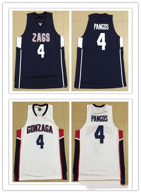 coutume XXS-6XL fait sur mesure # 4 Kevin Pangos GONZAGA Bulldogs femmes homme collégial taille de basket-ball des jeunes S-5XL un numéro de nom