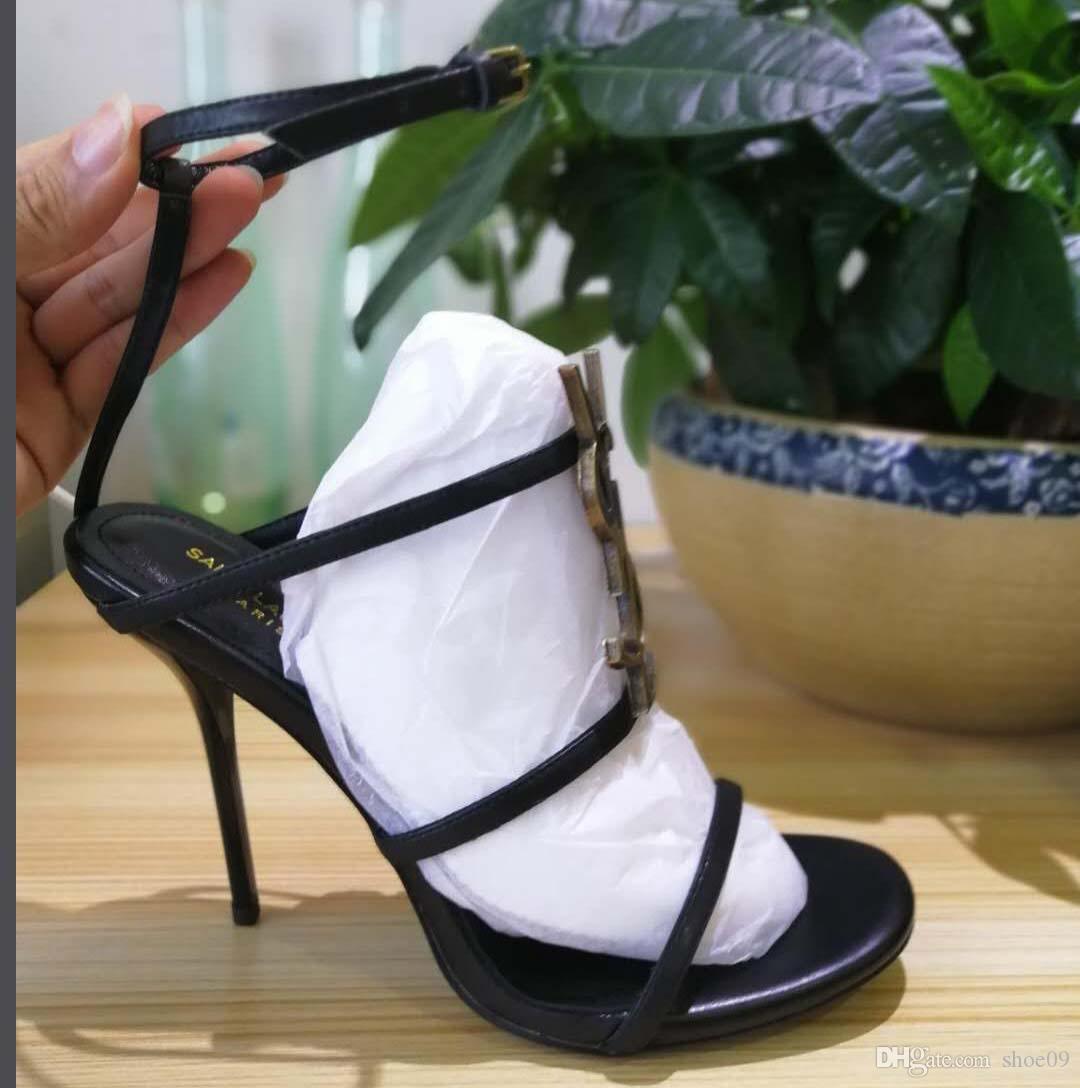 디자이너 구두 힐 샌들 최고 품질의 T - 스트랩 하이힐 펌프 4 색 숙녀 특허 가죽 드레스 싱글 신발 크기 : 35-41 박스 Y1
