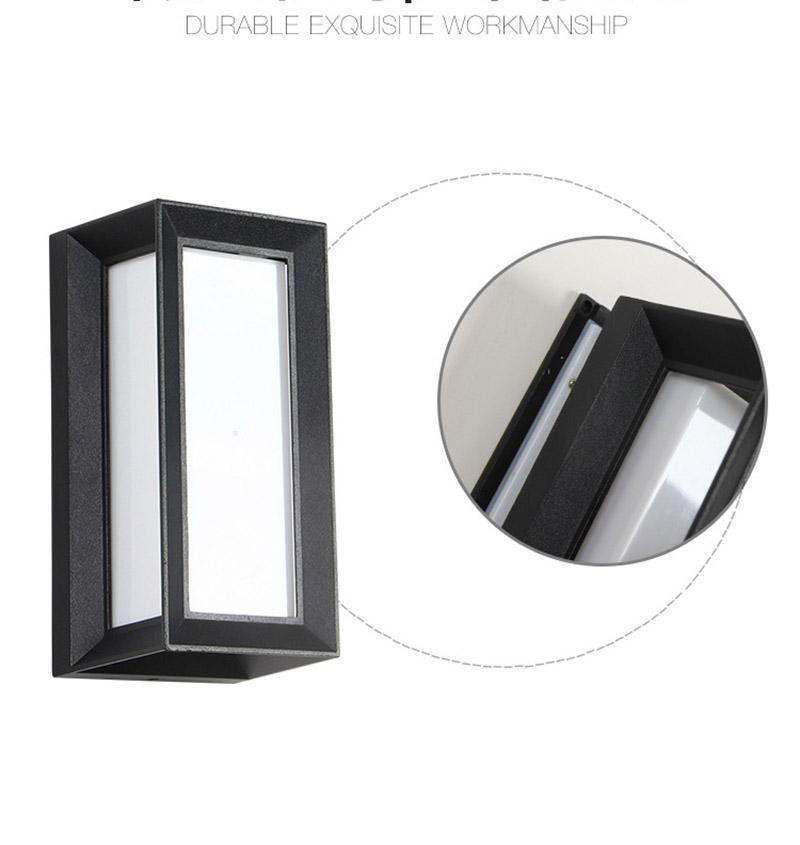 옥외 LED 벽 램프 10W 화이트 따뜻한 화이트 라이트 알루미늄 표면은 사각형 모양 벽 램프를 탑재
