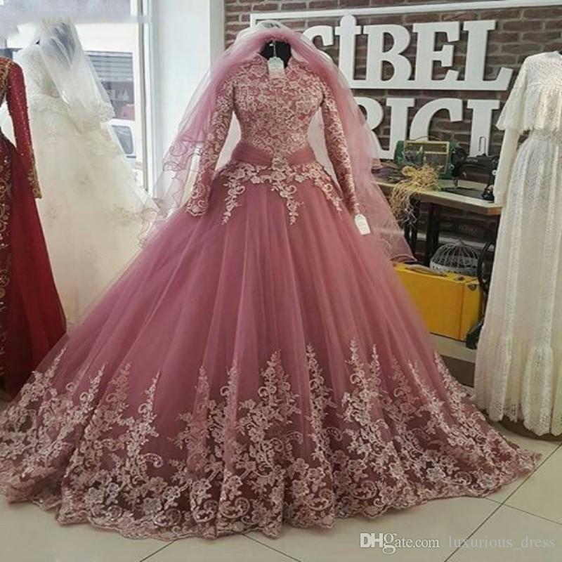 2019 Dust Pink Turkish Muslim Wedding Dresses with Veil Long Sleeve High neck Lace Applique Islamic Bridal Dress Arabic Gelinlik