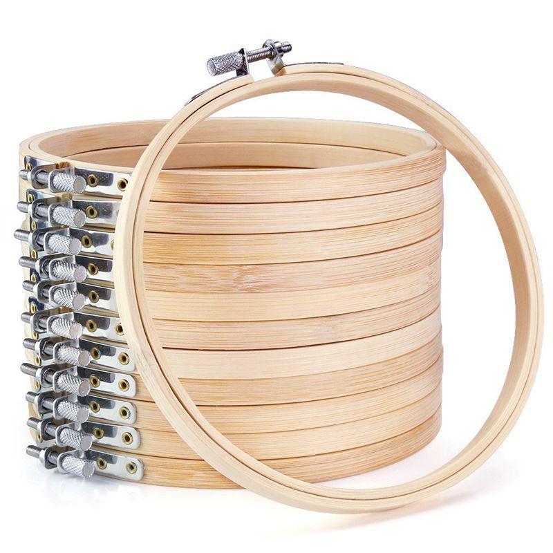 12 piezas de 6 pulgadas de madera a granel al por mayor de los aros de bordado Círculo Cruz de bambú redondo del anillo del aro de la puntada para el arte Artículos de arte de coser