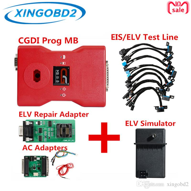 CGDI Prog MB for Benz Car Key Programmer Plus AC Adapters and ELV Simulator and ELV Repair Adapter and EIS/ELV test lines