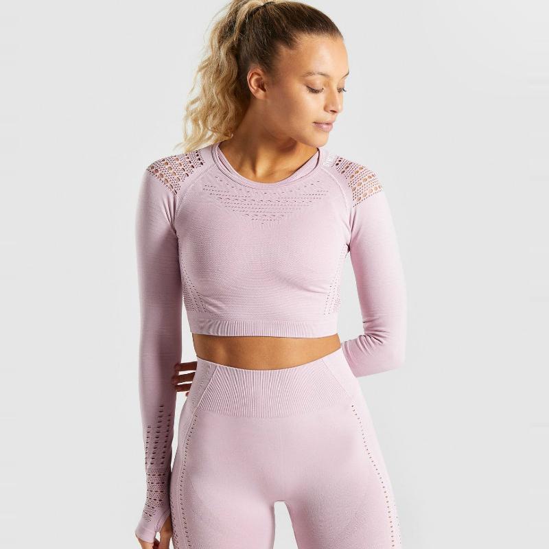 Başparmak Holes Spor Gömlek ile Spor Giyimi Running Kusursuz örme Dikişsiz Yoga Mahsul Üst Kadınlar Uzun Kollu Spor Tişört Dar Kesim