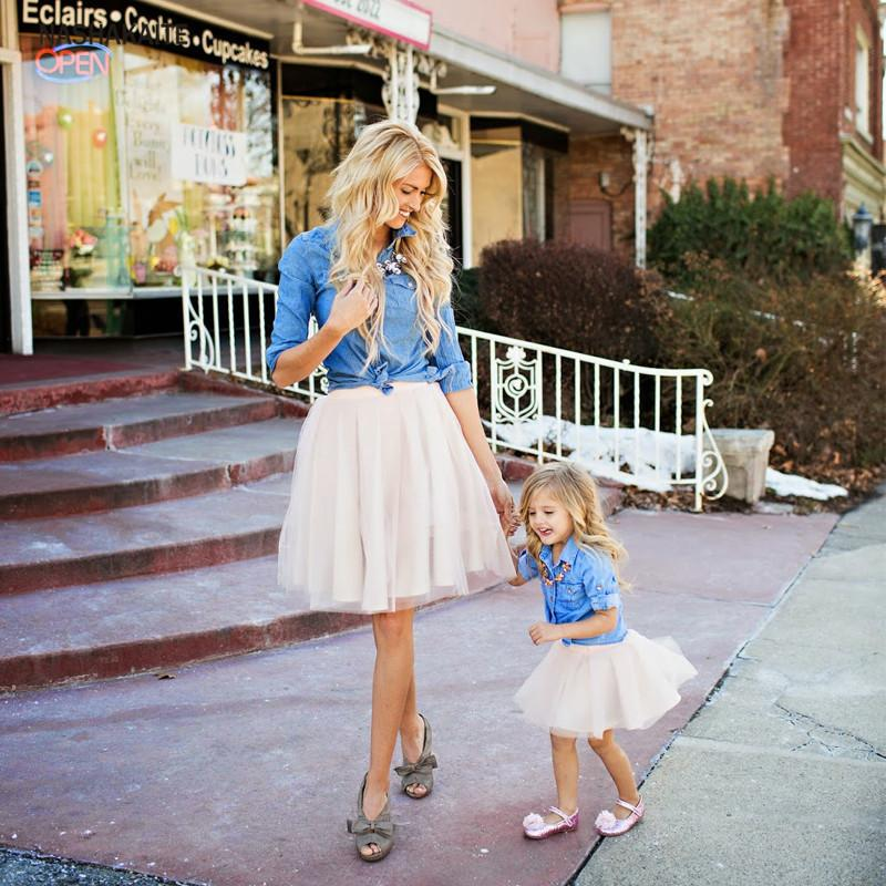 Nashakaite Family Matching Clothes Fashion Sets 2pcs Set Jeans Blouse+ Mesh Skirt Mother And Daughter Clothes Matching Outfits Y19051103