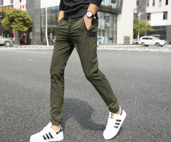 Calças casuais masculinas Joggers de Alta Qualidade Calças Hip Hop Beam masculino elástico calças verdes Fz1731