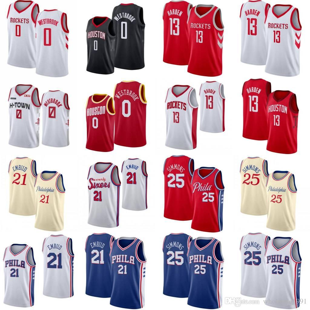 H-TOWN James Harden 13 Russell Westbrook 0 Basketball Jersey Sitiched Ben 25 Simmons Joel 21 Embiid Cidade do basquetebol camiseta