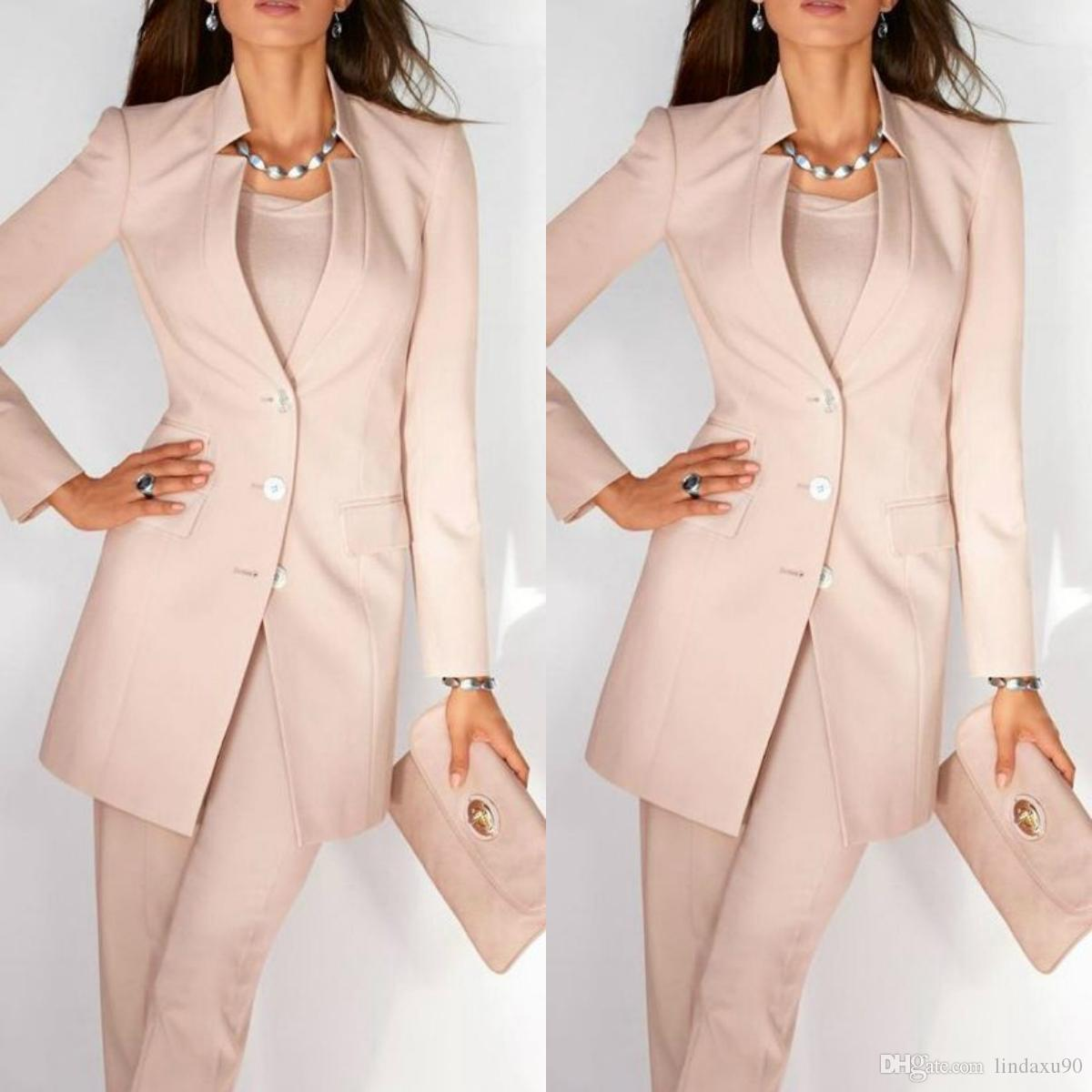 Pink Women Ladies Mother of the Bride Dresses Office Tuxedos Fashion Work Pant Suits Wedding Evening Party Formal Gown With Jacket