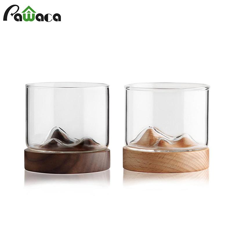 Mountain Whiskey Glass with Wooden Base Rocks Beer Glass Wine Cup Irish Bourbon Scotch Whiskey Glasses Set Bar Hotel Drinkware Y200107