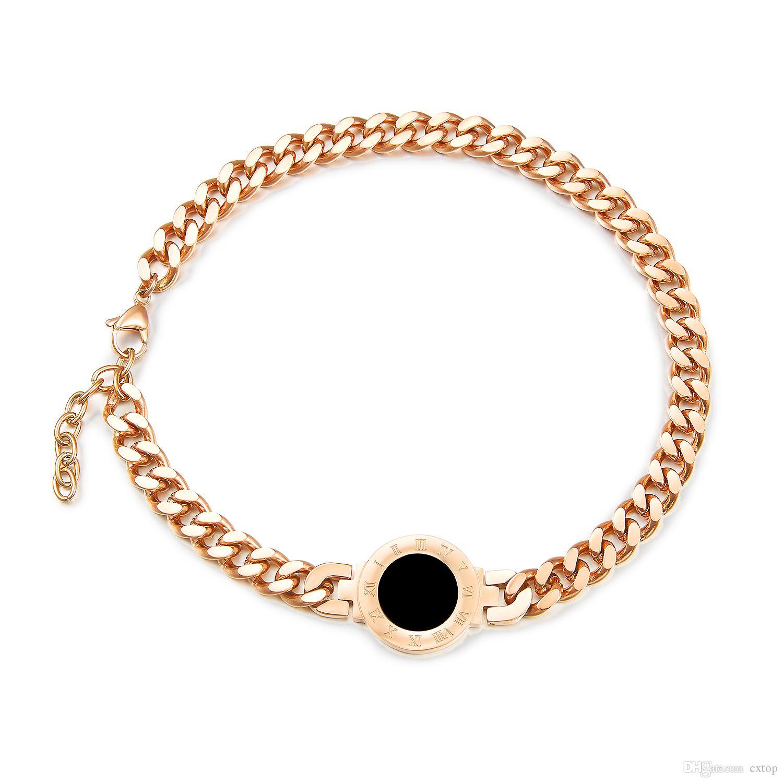 дизайн браслеты Моды ниши сталелитейных женщин из нержавеющих вырос золотые титановые стали браслетами римского цифры индекса циферблата Двойного браслета ожерелье