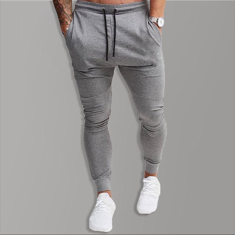 2020 Noir Pantalons de survêtement Causal coton Maigre Pantalon Hommes Solide Long Pantalon Pour Hommes Avec Poches Coton Gym Sportwear vêtements