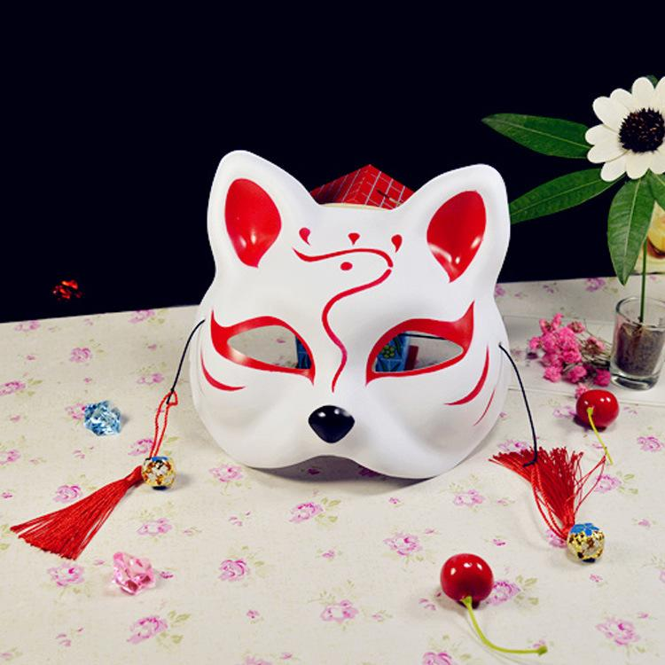 201909 Craetive Cat Fox Half Face Mask Halloween Cosplay Animal Masks Hand-Painted Japanese Style Wind Fox Anime Masquerade Supplies M574A