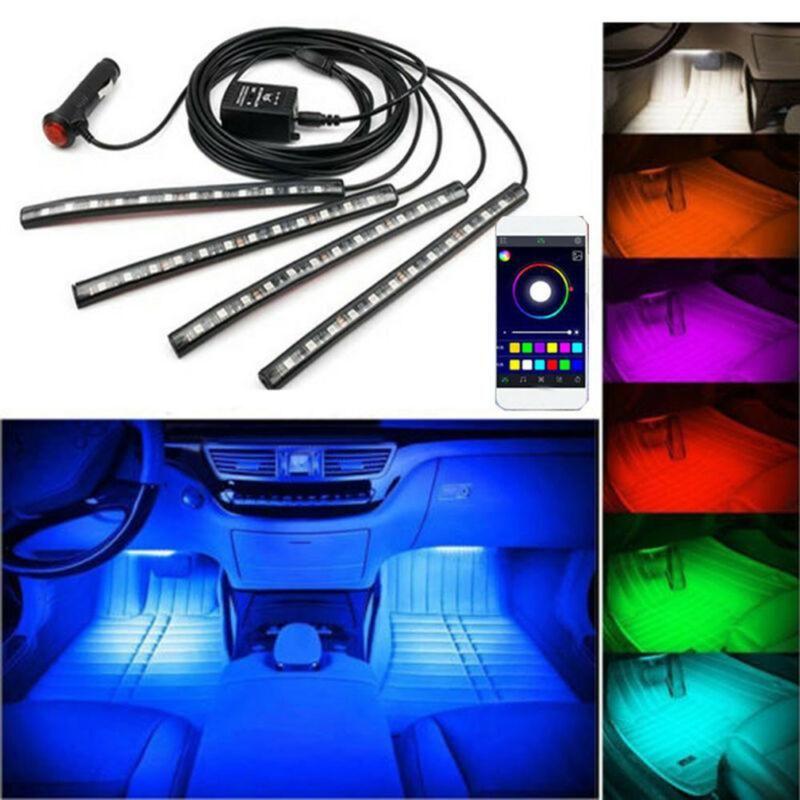 Light Strip 4x LED RGB Car Kit vano piedi Atmosfera Mobile App Music Control Car Interior decorativi LUCI