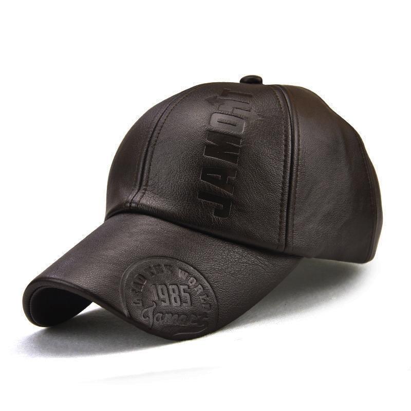 Vintage imitation leather baseball cap IPX3 waterproof brown hat 56-60cm adjustable men's hat copper adjustment buckle cap
