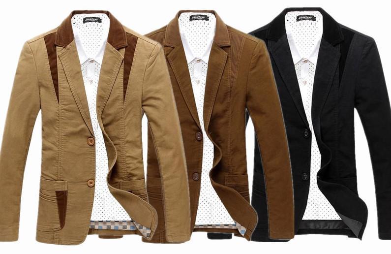 Тонкий Мужские дизайнерские костюмы Мода панелями однобортный мужские блейзеры Повседневная Круглый Хем костюмы Самцы одежды