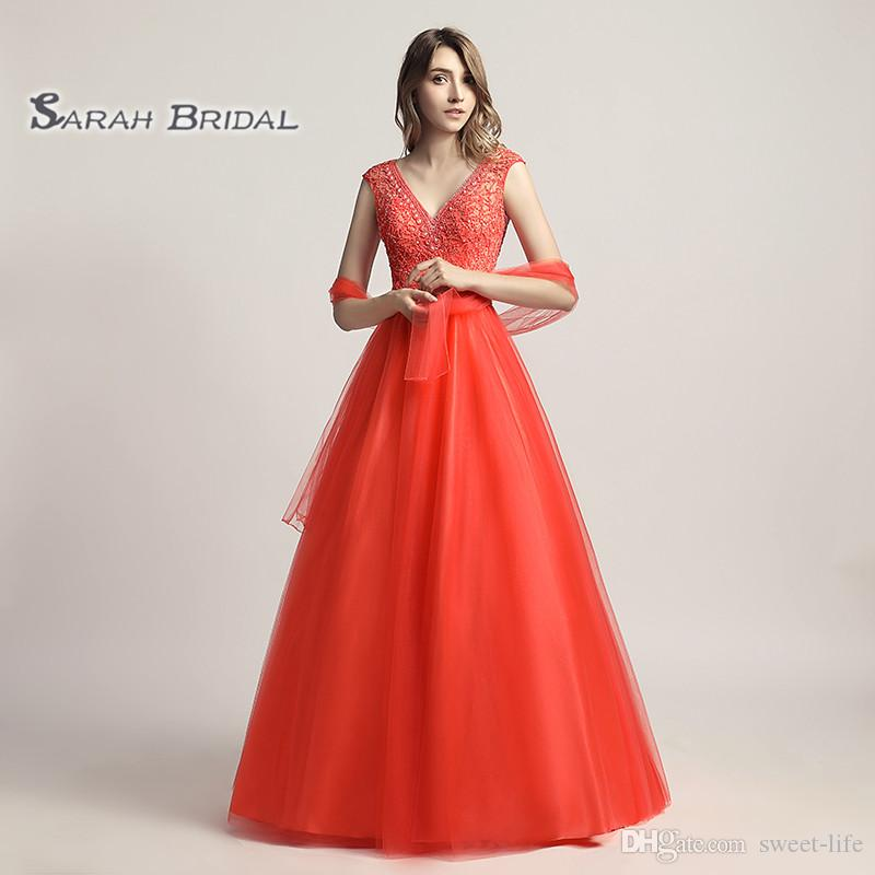 Luxury A-Line Beading Coral Tulle Red Prom Party Dress Elegant Backless Vestidos De Festa Evening Occasion Backless Quinceanera Gown LX426