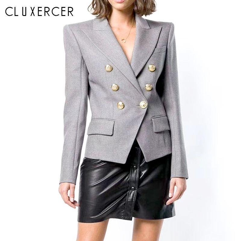 2019 Nuovo Blazer Femme Primavera Autunno elegante a maniche lunghe doppiopetto donne Blazer e giacche Office Lady Grey Coat Slim