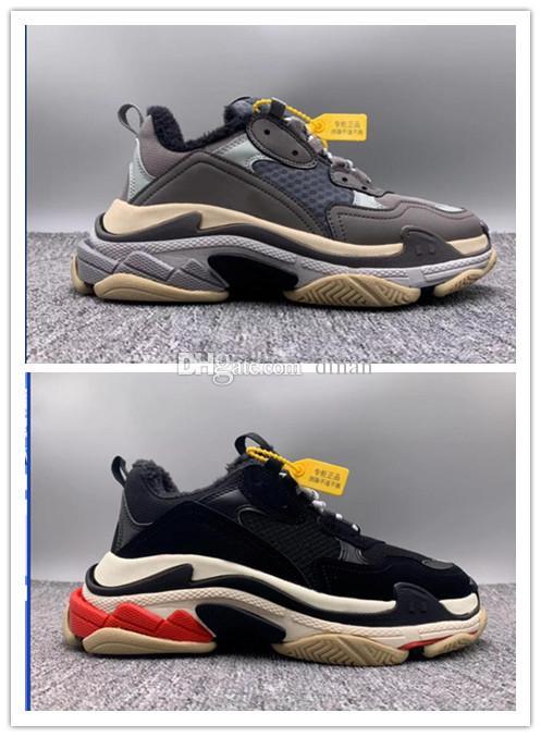 Paris 17FW Triple-S-Walking-Schuhe Luxus-Winter-Schuhe chaussures femme Triple S 17FW Turnschuhe Männer Frauen Furring Vintage alter Großvater Trainer