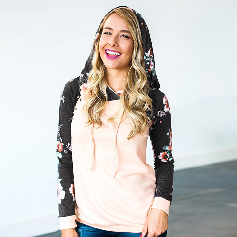 Sweatshirt Women Hoodies patchwork Plus Size Print Loose Pullover tops Ladies Casual Drawstring Jogging Running sweatshirts