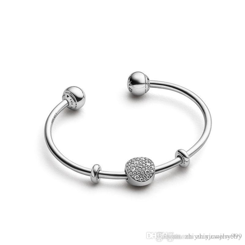 Beauty & The Beast Bangle Clear CZ open bangle bracelets 925 sterling silver come with original packaging