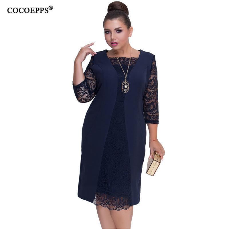 2019 Autumn Big Size Women Dress Lace Patchwork Plus Size Winter Dress Bodycon Elegant Office Party Dress Work Vestidos 5xl 6xl J190619