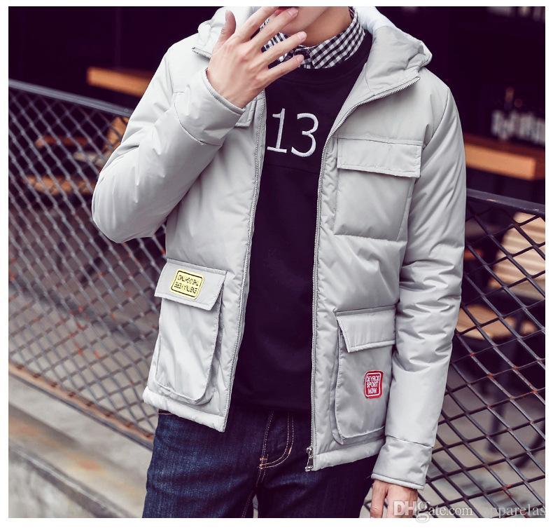 Kış yeni rahat pamuklu ceket gençlik ince aşağı kapüşonlu ceket