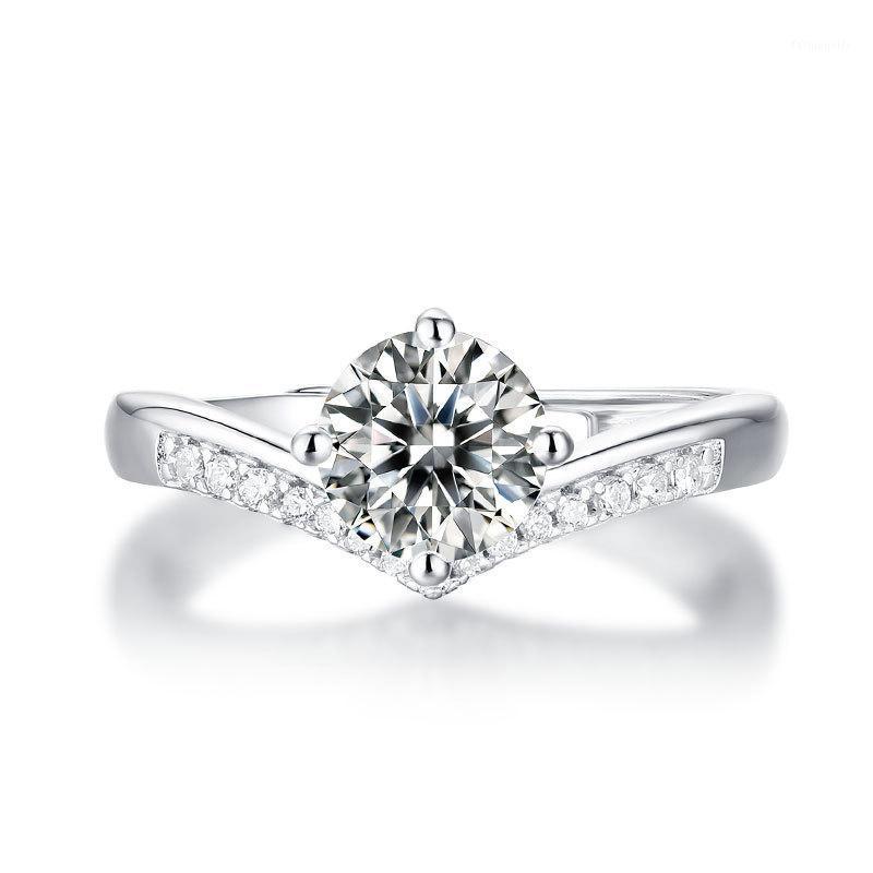 Regolabili Crown Gli anelli di nozze per le donne 1CT Moissanite anello Argento 925 diamante di cerimonia nuziale Ring1