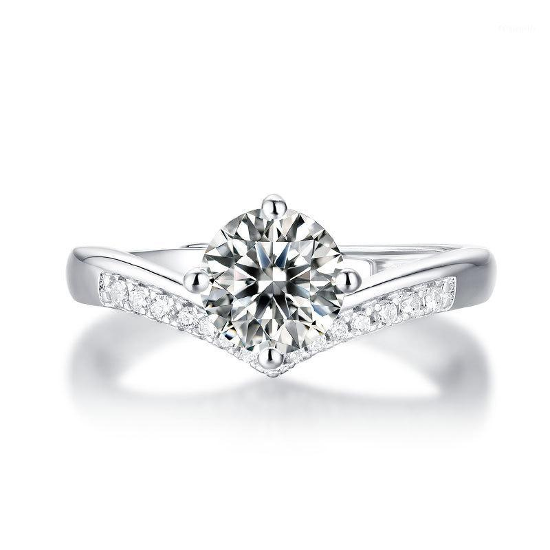 Ajustables Anillos de boda anillo de la corona para las mujeres 1CT anillo de Moissanite 925 bodas de diamante RING1