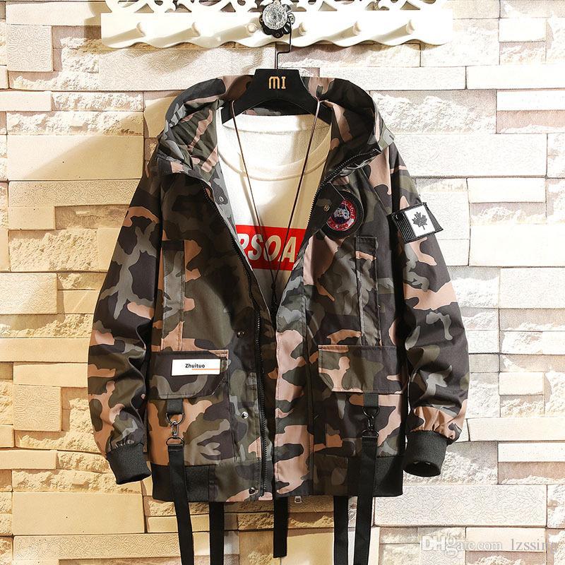 Мужчины хип-хоп пальто куртки Streetwear куртки с капюшоном Ветровка Ретро Zip Up Jacket дряблая Design Autumn PJ27