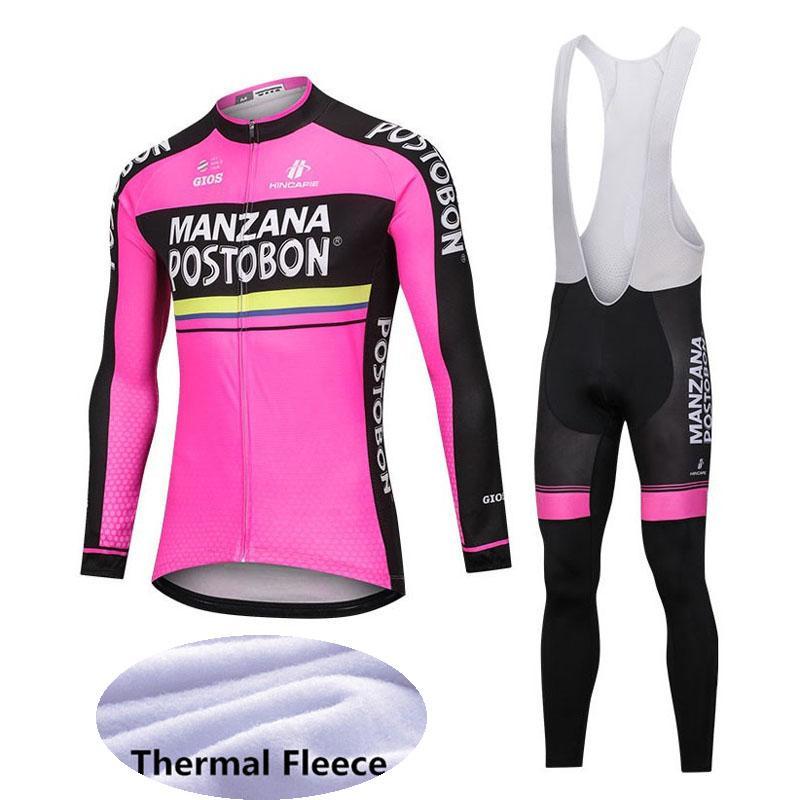 Manzana Postobon squadra maschile a maniche lunghe invernale CICLA Jersey i pantaloni set MTB traspirante all'aperto sportivo E61538