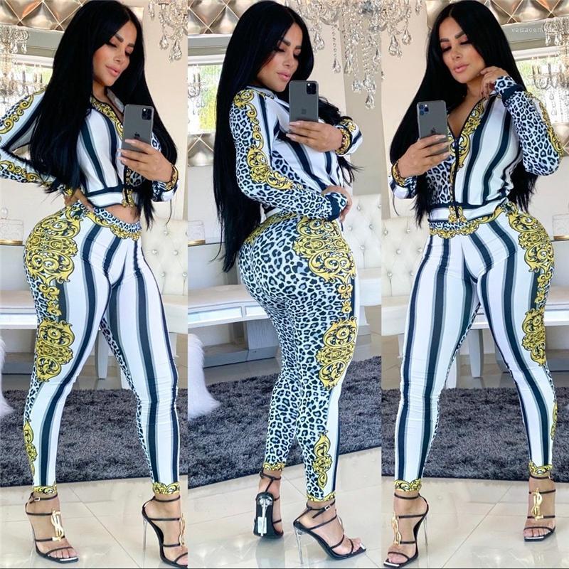 Fatos Listrado Floral Impresso Moda Feminina 2pcs magro das calças Zipper Ternos de manga longa esportes fêmea Designer Womens Leopard