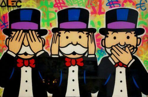Alec Монополия граффити Три Обезьяны дани Home Decor расписанную HD Печать Картина маслом на холсте Wall Art Canvas картинки 200202