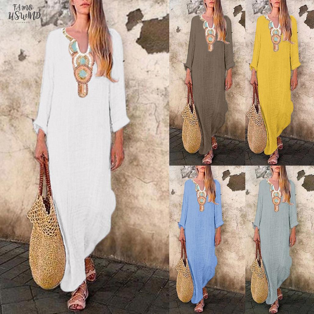 2020 Kleid Frauen Printed Langarm-U-Ausschnitt Maxikleid Split Baggy Kaftan langes Kleid Robe Femme Vestidos Plus Size