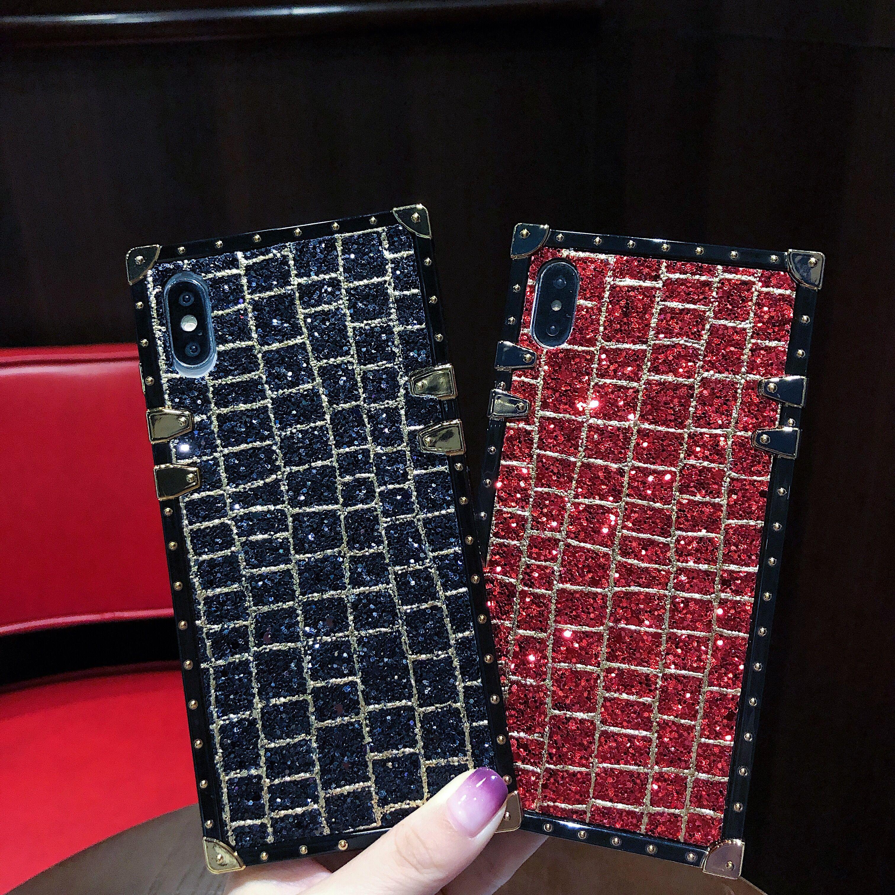 Diamantes bling de lujo a prueba de golpes Shining caja del teléfono de lujo para el iPhone 11 / X / XR / XS Max / 8/7 más 6 / 6S plus