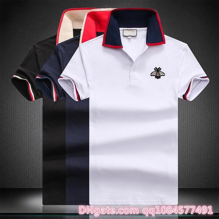 2019 Роскошный дизайнер модной классической мужской рубашки с вышивкой в полоску из хлопка. Мужская дизайнерская футболка белая черная дизайнерская рубашка поло M-