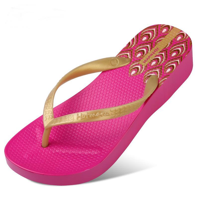Cunha do calcanhar flip-flop mulheres grossas de fundo sapatos plataforma praia prova d'água padrão simples sandálias femininas e chinelos