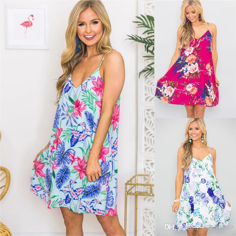 Plus Size V-neck Summer Mini Dress 50% Spaghetti Strap Floral Printed Casual Dresses Fashion Apparel Sexy Beach Vacation Outfits