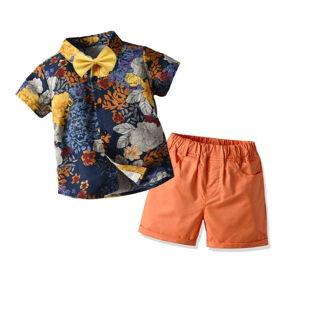 Топ Моды и топ Моды Baby Boy джентльмен одежда лето с коротким рукавом цветочные рубашки с галстуком-бабочкой + шорты дети мальчик 2 шт. одежда M200443