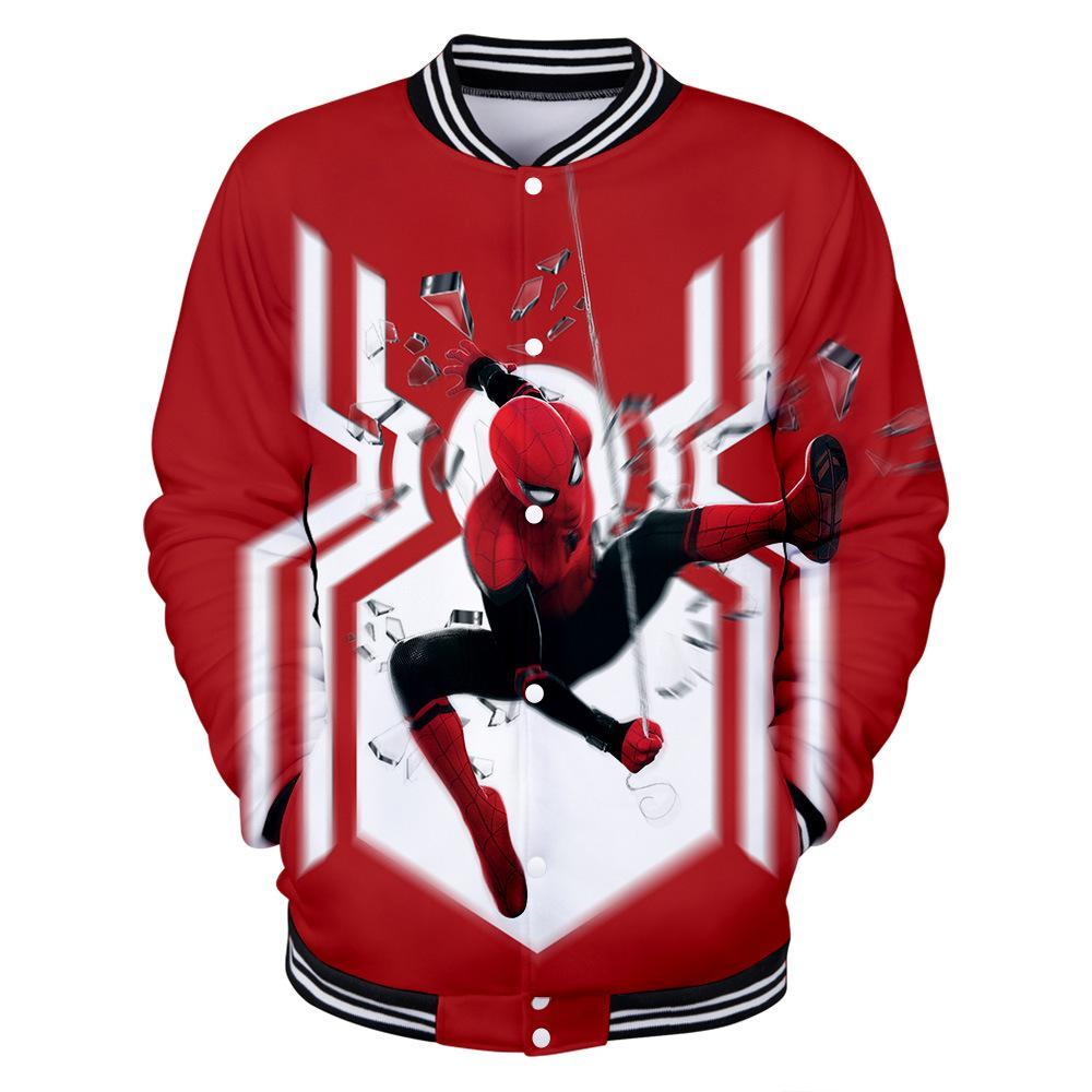 Spiderman Far From Home 3D Print Baseball Bomber Vêtements d'extérieur Uniforme Homme Veste Homme Femme Sweats à capuche Sweat-shirt Spider-Man cosplay