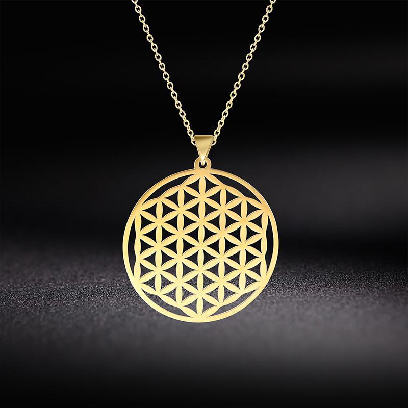 Inaptos Flor da Cadeia de Vida Mandala Pendant Colar Gargantilha For Women Stainless Steel Geometria sagrado presentes jóias vintage