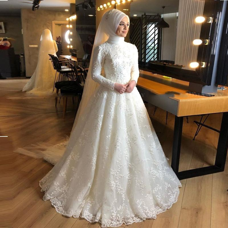 2021 İslam Fildişi Tam Dantel İnciler Müslüman Gelinlik Hicap Uzun Kollu Arapça Gelinlikler Dubai Gelin Elbiseler Mütevazı Abiye