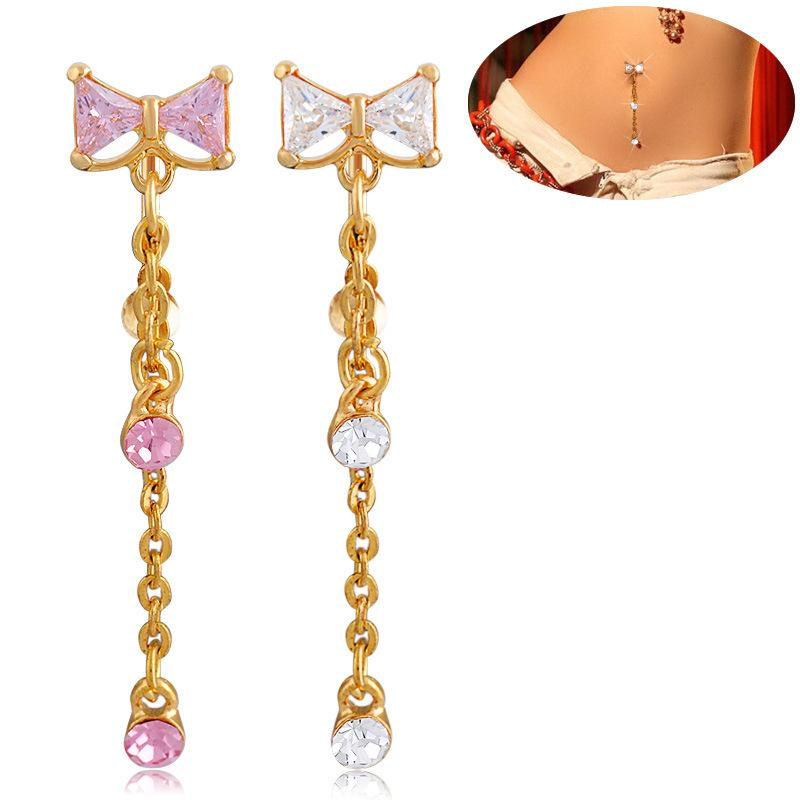 Cute Bow Knot Crystal Body Jewelry Piercings Stainless Steel Rhinestone Navel & Bell Button Piercing Long Dangle Rings for Women Gift